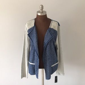 Style & Co Open French Terry Blue Cream Cardigan